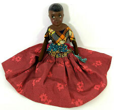 """Antique African American Black Female Doll Composition Side Glancing Eyes 15"""""""