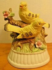 vintage ceramic bird music box with two  yellow birds made in Japan
