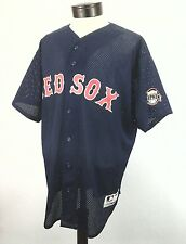 BOSTON RED SOX Jersey Classic Button Down Shirt Blue MAJESTIC USA Made Men's XL
