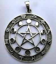 Sterling Silver  Pentagram ,Moon Phases And Zodiac Signs Pendant  !!    New  !!