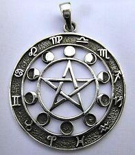 Plata De Ley Pentagrama ,Fases Luna Y Zodiaco Símbolos Colgante Nuevo
