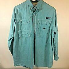Columbia Pfg Super Bonehead green L/S Omni-Shade Fishing Shirt Mens Large