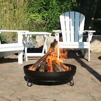 """Sunnydaze 23"""" Fire Pit Steel with Black Finish Wood-Burning Fire Bowl with Stand"""