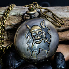 New Men FOB analog pocket Bronze finished quartz watch Skull design with Chain