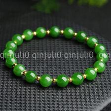 10MM Natural Green JADE Jadeite Round Beads Stretch Bracelet Bangle 7.5'' J3225