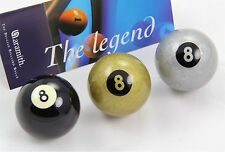 "Exclusive 2"" Aramith Premier BLACK, SILVER & GOLDEN 8 BALL Pool Balls"