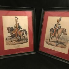 Royal Hussars Pair Antique Framed Prints 10th and 15th Officer in Review,  1829
