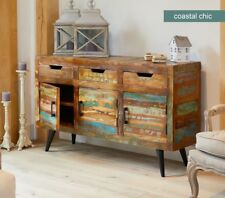 Baumhaus Coastal Chic Large Sideboard - Reclaimed Wood - Iron Legs