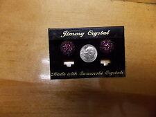 FASHION JEWELRY  JIMMY CRYSTAL EARRINGS SWAROWSKI CRYSTAL PURPLE ROUND POST