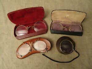 lot 3 anciennes lunettes + 1 monocle ?  pince nez  lorgnon  binocle  avec étuis