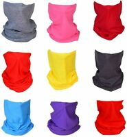 (9 Pack) Solid Reusable Face Masks Bandanas #2 Headband Shield Scarf Neck Gaiter