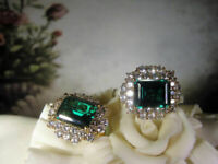 4Ct Emerald Cut Green Diamond Halo Stud Earrings Solid 14K Yellow Gold Finish