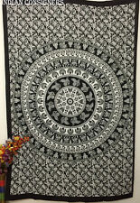 Mandala Elephant Design Twin Tapestry 100% Cotton Wall Hanging Cotton Fabric Art