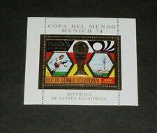 EQUATORIAL GUINEA, 1974, SOCCER, MUNICH, OVPT.SOUVENIR SHEET, LOT #68, CTO, LQQK