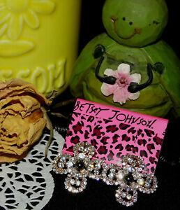 Betsey Johnson ~ Sliver Crytsal Flower Leverback Post Earrings ~ NEW ~ J #35
