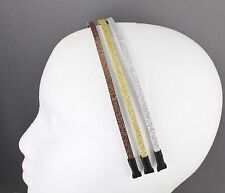 "Gold Silver Brown glitter sparkly thin skinny 3/16"" wide set 3 headband teeth"