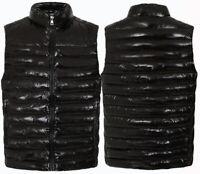 Mens Sleeveless Shiny Glosy Gilets Body Warmer Puffer Quilted Padded Jacket