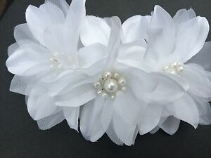 Wedding White Flowers With Pearls Hair Comb handmade