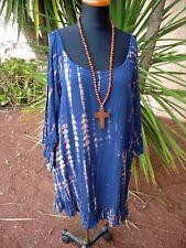 Stunning Navy Tie Dye Open Cold Shoulder  KAFTAN Tunic Resort Beach Dress