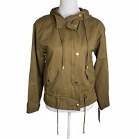 Bella Donna Camel Long Sleeve Hooded Waist String Zip Up Jacket Anorak Womens S