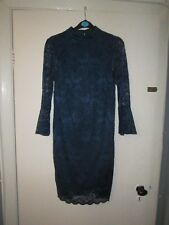 BNWT Blue Teal Lace Dress High Neck Open Back 3/4 Sleeves Bodycon Fitted 8 10