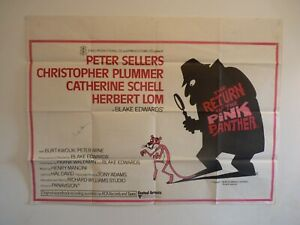ORIGINAL UK QUAD MOVIE FILM POSTER 1975 THE RETURN OF THE PINK PANTHER,VERY GOOD