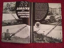 1938 2 pg Ad Thew Shovel Company Lorain 77 Cranes for Elmhurst Contracting, Mack