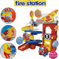 KIDS SOFT FIRE STATION PARKING GARAGE SQUEEZABLE CARS PLAY TOY SET FUN XMAS GIFT