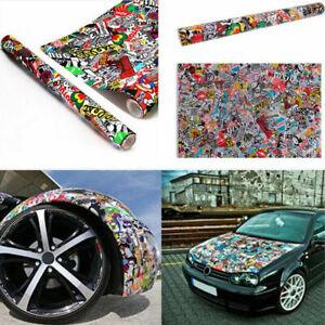 152x50cm JDM Panda Cartoon Graffiti Sticker Car Bomb Wrap Sheet Decal Vinyl DIY