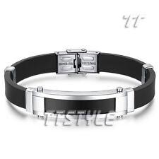 Quality TTstyle Silver/Black Stainless Steel ID Bracelet Engravable