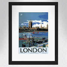 Vintage Houses of Parliament, London Travel Poster - A4 - Great quality