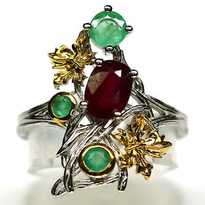 NATURAL 5 X 7 mm. RED RUBY & GREEN EMERALD RING 925 STERLING SILVER SIZE 6.75