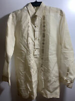 BARONG TAGALOG MEN'S 4 BUTTONED LONG SLEEVE SIZE MEDIUM