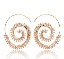 Fashion Alloy Round Circles Spiral Tribal Hoop Ear Stud Earrings Women's Jewelry I Gold