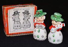 VINTAGE JAPAN SNOWMAN SALT PEPPER SHAKERS CHRISTMAS INSTRUMENTS Napco ORIG BOX