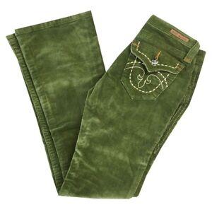 Women's ROCK REVIVAL SLIM FLARE back flap pocket CORDUROY Jeans GREEN SZ: 25-31