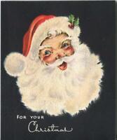 VINTAGE CHRISTMAS SANTA CLAUS SMILING HAT HOLLY ART DECO FLOCKED GREETING CARD