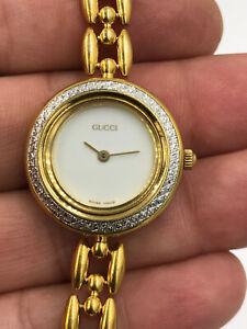 Gucci Watch 11/12.2 Swiss Quartz Ladies Interchangeable Bezel Gold Tone Vintage