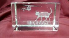 Bevelled Edge Glass 3D Laser Block Paperweight : Cat on Roof