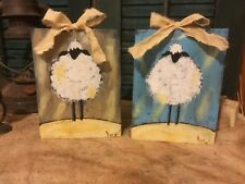 Hand Painted Sheep Wooden Wall Hanging/Shelf Setters Folk Art Farmhouse