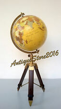 "Nautical Replogle World GLOBE 12"" ATLAS MAP Antique Finish Vintage Tripod Stand"