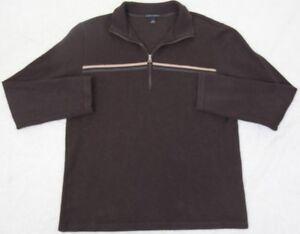 Banana Republic Polo Sweater Brown Gray Cotton Medium Mans Collared Long Sleeve