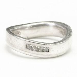 Fossil Designer Wave Band Ring 925 Sterling Silver R