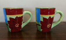Corsica Holiday Quilt Poinsettia Stocking Hand Painted Mugs Cups Set of 2