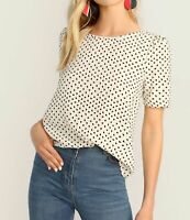 Puff Sleeve Bow Back Round Neck Heart Print Elegant Blouse Top Casual