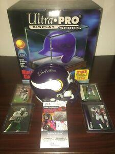 Randy Moss Signed Minnesota Vikings Mini Helmet w/UV Case + RC Rookie Cards JSA