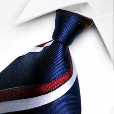 ST050 Blue White Red Stripes 100% New Silk WOVEN JACQUARD Men's Tie Necktie
