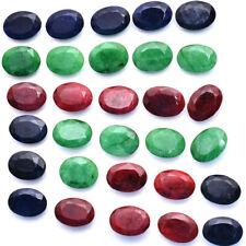 205 Ct Natural Red Ruby Green Emerald & Blue Sapphire Oval Gems Wholesale~49 Pcs