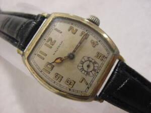 Vintage GOLD FD large antique pre 1920 Art Deco WALTHAM TONNEAU mens watch