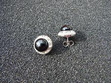 Ohrstecker Neu Edel silberfarben mit schwarzen Modestein klaren Strass Steinen